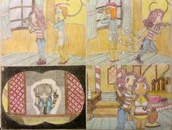 Size: 1024x773 | Tagged: safe, artist:meiyeezhu, carrot cake, cup cake, pinkie pie, rainbow dash, human, anime, binoculars, cake family, comic, converse, humanized, humanized ponified human, old master q, parody, peeking, ponyville, shoes, sugarcube corner