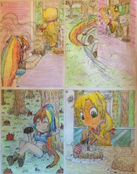 Size: 1024x1304 | Tagged: safe, artist:meiyeezhu, applejack, rainbow dash, human, worm, comic:how to stop fritter thieves, angry, anime, apple, apple fritter (food), baking, belly button, comic, disappointed, eating, funny, humanized, humanized ponified human, hungry, kitchen, midriff, old master q, parody, sakuranoruu, stealing, sweet apple acres, traditional art