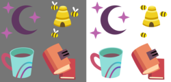 Size: 2500x1200   Tagged: safe, artist:cheezedoodle96, booksmart, honey lemon, moondancer, moondancer's sister, morning roast, bee, .svg available, beehive, book, coffee mug, cup, cutie mark, librarian, moon, simple background, stars, svg, transparent background, vector