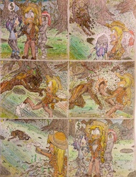 Size: 1024x1335 | Tagged: safe, artist:meiyeezhu, applejack, oc, human, timber wolf, bally-vhern, bucking, comic, coward, crime, everfree forest, forest, headless, humanized, humanized oc, humanized ponified human, jerks, kick, knife, lightning thief, mugging, old master q, parody, robbery, shori, smooth hooves, surrender, traditional art, trapped, xxfroggiii