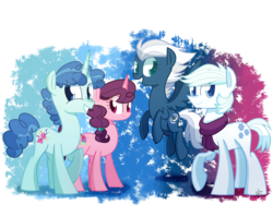 Size: 4000x3000 | Tagged: safe, artist:yaco, double diamond, night glider, party favor, sugar belle, earth pony, pegasus, pony, unicorn, cute, double dawwmond, equal four, favorbetes, glideabetes, grin, looking at you, raised hoof, smiling, sugarbetes