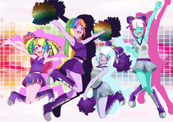 Size: 4238x3000 | Tagged: artist needed, source needed, safe, lilac sky, pinkie pie, spring step, sunlight spring, twilight sparkle, equestria girls, absurd resolution, anime, armpits, boots, cheerleader, cheerleader pinkie, cheerleader sparkle, clothes, equestria girls-ified, midriff, miniskirt, pom pom, skirt, top