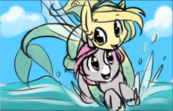 Size: 1038x667 | Tagged: safe, artist:starshinebeast, oc, oc only, oc:intrepid charm, oc:ocean pixel, aquapony, pony, unicorn, female, flying, male, ocean, seapegasus, straight, trail as a pony, water