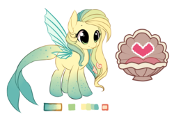 Size: 5692x3885 | Tagged: safe, artist:starshinebeast, oc, oc only, oc:ocean pixel, aquapony, cute, female, palette, reference sheet, seapegasus, solo, trail as a pony