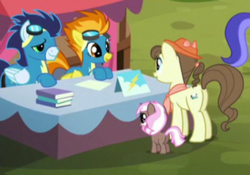 Size: 735x514 | Tagged: safe, screencap, brown sugar, pegasus olsen, peggy holstein, sea swirl, seafoam, soarin', spitfire, earth pony, pegasus, unicorn, party pooped, 5-year-old, booth, female, filly, goggles, male, mare, stallion, wonderbolts uniform