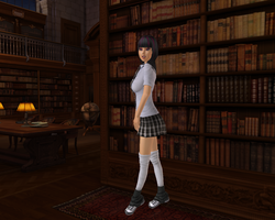 Size: 1280x1024 | Tagged: safe, artist:sith, twilight sparkle, human, 3d, clothes, humanized, library, school uniform, schoolgirl, solo