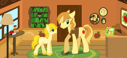 Size: 1940x891 | Tagged: applejack, artist:ladyyumiko, braeburn, colt, earth pony, foal, male, oc, oc:apple buck, offspring, parent:applejack, parent:braeburn, parents:braejack, pony, product of incest, safe, stallion, unshorn fetlocks
