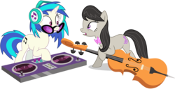 Size: 11700x6000 | Tagged: safe, artist:caliazian, dj pon-3, octavia melody, vinyl scratch, earth pony, pony, unicorn, slice of life (episode), absurd resolution, background pony, bowtie, cello, cutie mark, duo, female, headphones, hooves, horn, mare, mixing console, musical instrument, open mouth, simple background, sunglasses, transparent background, vector