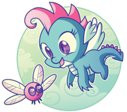 Size: 400x354 | Tagged: safe, artist:xkappax, oc, oc only, oc:dim sum the dragon, dragon, parasprite, cloud, cute, flying, looking at each other, ocbetes, open mouth, simple background, smiling, spread wings, transparent background, wings