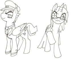 Size: 1095x914   Tagged: safe, artist:gravekeeper, oc, oc only, oc:holly diver, oc:miss spelling, pegasus, pony, unicorn, fanfic:the ballad of twilight sparkle, clothes, duo, duo female, fanfic art, female, glasses, hat, mare, monochrome, necktie, raised hoof, sketch, tail wrap, uniform