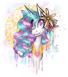 Size: 880x1000 | Tagged: safe, artist:karmamoonshadow, princess celestia, flower, flower in hair, solo
