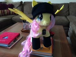 Size: 3264x2448 | Tagged: safe, fluttershy, beanie (plushie), build-a-bear, clothes, custom, irl, lewd, photo, plushie, socks, solo