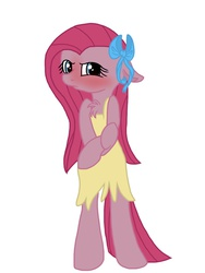 Size: 768x1024 | Tagged: safe, artist:php76, pinkie pie, pony, semi-anthro, bipedal, blushing, bow, chest fluff, clothes, cute, cuteamena, dress, embarrassed, hair bow, pinkamena diane pie