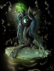 Size: 1200x1600 | Tagged: safe, artist:karmamoonshadow, queen chrysalis, solo