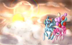 Size: 1920x1200 | Tagged: safe, artist:karmamoonshadow, pinkie pie, rainbow dash, balloon, cloud, cloudy, then watch her balloons lift her up to the sky