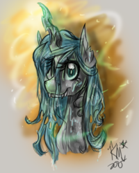 Size: 1200x1500 | Tagged: safe, artist:karmamoonshadow, queen chrysalis, changeling, changeling queen, female, solo
