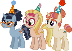 Size: 1064x751   Tagged: safe, artist:jeatz-axl, booksmart, honey lemon, moondancer's sister, morning roast, pony, unicorn, amending fences, big hero 6, bookseller, eyebrows, female, glasses, hat, headband, librarian, mare, old, party hat, ponified, simple background, smiling, tail wrap, transparent background, trio, vector