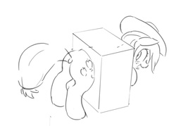 Size: 1024x733 | Tagged: safe, artist:masak9, applejack, earth pony, pony, butt, female, hat, mare, monochrome, plot, simple, solo, through wall
