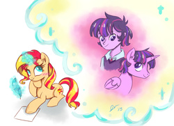 Size: 2160x1564 | Tagged: safe, artist:dreamscapevalley, sunset shimmer, twilight sparkle, alicorn, pony, unicorn, equestria girls, blushing, daydream, dusk shine, duskshimmer, equestria guys, female, get, humanized, index get, male, prince dusk, rule 63, shipping, straight, sunsetsparkle, twilight sparkle (alicorn)