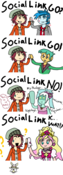 Size: 1280x3518 | Tagged: safe, lyra heartstrings, normal norman, snails, thunderbass, audino, equestria girls, angry, background human, crossover, cure flora, go princess precure, hidden message, hippology, mega audino, one true rivalry, parody, persona, persona 4, pokémon, precure, social link, thought bubble