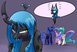 Size: 1748x1181 | Tagged: safe, artist:underpable, princess cadance, princess celestia, princess luna, queen chrysalis, alicorn, changeling, donkey, pony, blushing, crying, cute, cutealis, ears, embarrassed, fangs, floppy ears, lidded eyes, looking back, reformed, royal sisters, sad, simple background, tongue out, underpable is trying to murder us, wavy mouth