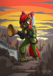 Size: 955x1351   Tagged: safe, artist:mysticalpha, apple bloom, anthro, plantigrade anthro, twittermite, gas mask, mask, pest control gear, solo, twitbuster apple bloom