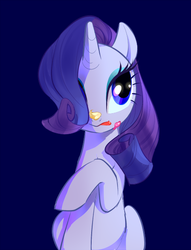 Size: 450x588 | Tagged: safe, artist:pan, rarity, pony, unicorn, mmmystery on the friendship express, cake, female, food, frosting, hair over one eye, simple background, sitting, solo
