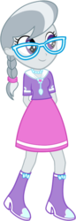 Size: 294x852 | Tagged: dead source, safe, artist:gerardogreiff, silver spoon, equestria girls, boots, clothes, cute, glasses, high heel boots, jewelry, necklace, simple background, skirt, smiling, solo, transparent background, vector