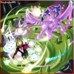 Size: 1200x1200 | Tagged: safe, artist:wangkingfun, lord tirek, twilight sparkle, alicorn, pony, twilight's kingdom, angry, art, badass, blast, epic, female, fight, flying, glowing horn, gritted teeth, horn, magic, magic blast, mare, super saiyan princess, twilight sparkle (alicorn), twilight vs tirek