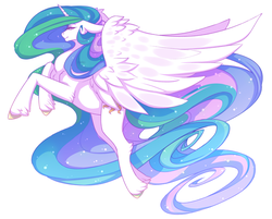 Size: 800x644 | Tagged: artist:morkemime, princess celestia, safe, simple background, solo, spread wings
