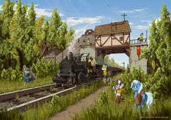 Size: 3000x2100 | Tagged: safe, artist:eriada, maud pie, trixie, zecora, oc, pony, unicorn, zebra, coal, levitation, magic, railroad, raised hoof, royal guard, saddle bag, scenery, scenery porn, steam train, train