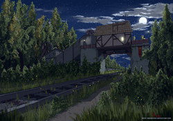 Size: 3000x2100   Tagged: safe, artist:eriada, firefly (insect), moon, railroad, royal guard, scenery, scenery porn