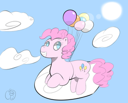 Size: 840x680   Tagged: safe, artist:an-honest-appul, pinkie pie, earth pony, pony, balloon, cloud, floating, grin, lens flare, smiling, solo, sun, then watch her balloons lift her up to the sky