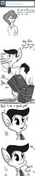 Size: 800x3952   Tagged: safe, artist:tjpones, oc, oc only, oc:brownie bun, oc:richard, human, horse wife, arrows, ask, computer, cute, fire, horsebando, humanized, humanized oc, monochrome, offscreen character, ponified, race swap, role reversal, tumblr