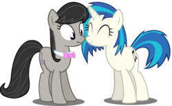 Size: 8000x4922 | Tagged: safe, artist:deratrox, dj pon-3, octavia melody, vinyl scratch, earth pony, pony, unicorn, absurd resolution, boop, bow, bowtie, cute, eyes closed, female, lesbian, mare, noseboop, nuzzling, scratchtavia, scrunchy face, shipping, simple background, smiling, transparent background, vector, wide eyes