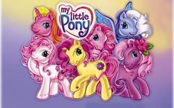 Size: 2560x1600   Tagged: safe, desert rose, rarity (g3), royal bouquet, silver glow, tulip twinkle, wysteria, earth pony, pegasus, pony, unicorn, g3, logo, my little pony, my little pony logo, official art