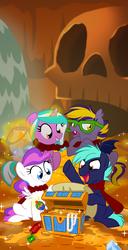 Size: 1024x1994 | Tagged: safe, artist:nanook123, oc, oc only, oc:blank canvas, oc:blazing star, oc:hoof beatz, oc:mane event, bat pony, pony, bronycon, bronycon 2015, bronycon mascots, gold, hoofevent, treasure chest, treasure hunting, younger