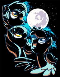 Size: 600x776   Tagged: safe, artist:lanmana, oc, oc only, oc:blank canvas, oc:hoof beatz, oc:mane event, bronycon, bronycon 2015, bronycon mascots, clothes, hoofevent, lighting, mare in the moon, moon, parody, shirt, shirt design, three wolf moon