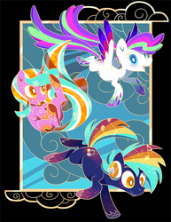 Size: 600x776 | Tagged: safe, artist:lanmana, oc, oc only, oc:blank canvas, oc:hoof beatz, oc:mane event, bronycon, bronycon mascots, hoofevent, poster, rainbow power, rainbow power-ified