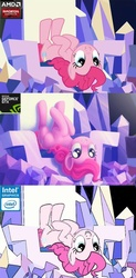 Size: 500x1015 | Tagged: safe, artist:joellethenose, edit, edited screencap, screencap, pinkie pie, earth pony, pony, amd, comparison, female, intel, joke, mare, meme, nvidia, pc master race, radeon, scene interpretation, throne, twilight's castle, video card