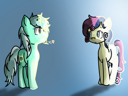 Size: 1024x768 | Tagged: safe, artist:greensushiroll, artist:impossible-girl, bon bon, lyra heartstrings, sweetie drops, eye contact, female, frown, heart, lesbian, lyrabon, messy mane, shipping, smiling