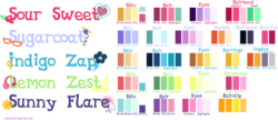 Size: 3459x1500   Tagged: safe, artist:xebck, indigo zap, lemon zest, sour sweet, sugarcoat, sunny flare, equestria girls, friendship games, color palette, crystal prep academy, crystal prep shadowbolts, cutie mark, earbuds, glasses, reference sheet, shadow five, text