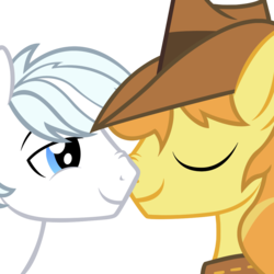 Size: 1024x1024 | Tagged: safe, artist:dtkraus, braeburn, double diamond, bedroom eyes, boop, braediamond, couple, eyes closed, gay, male, nose wrinkle, noseboop, nuzzling, shipping, simple background, smiling, transparent background, vector