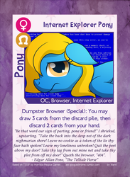 Size: 889x1214 | Tagged: artist:10art1, blue screen of death, browser ponies, card, edgar allan poe, internet explorer, oc, oc:internet explorer, oc only, ponified, pony, safe, solo, the raven, twilight sparkle's secret shipfic folder, worst pony