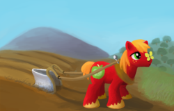 Size: 1152x739 | Tagged: safe, artist:randomkooldude, big macintosh, butterfly, earth pony, pony, insect on nose, macabetes, male, plow, solo, stallion