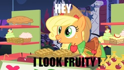 Size: 1280x720   Tagged: safe, edit, edited screencap, screencap, applejack, the best night ever, apple, apple cider, apple fritter (food), apple pie, clothes, cupcake, dress, female, food, food stand, fruity, gala dress, market stall, meme, pie, solo