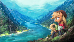 Size: 1920x1080 | Tagged: safe, artist:assasinmonkey, applejack, earth pony, pony, boots, clothes, female, freckles, hat, looking back, mare, mountain, open mouth, river, scenery, scenery porn, solo, wallpaper