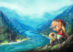 Size: 1920x1360 | Tagged: safe, artist:assasinmonkey, applejack, earth pony, pony, boots, clothes, female, freckles, hat, looking back, mare, mountain, river, scenery, scenery porn, smiling, solo