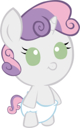 Size: 1438x2295 | Tagged: safe, artist:megarainbowdash2000, sweetie belle, pony, baby, baby belle, baby pony, diaper, foal, solo, white diaper