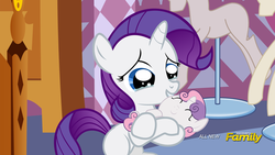 Size: 1920x1080 | Tagged: safe, artist:shutterflyeqd, rarity, sweetie belle, pony, baby, baby belle, baby pony, discovery family logo, fake screencap, filly, foal, i can't believe it's not hasbro studios, newborn, sisters
